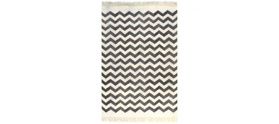 Kilim-tæppe med mønster bomuld 160 x 230 cm sort/hvid
