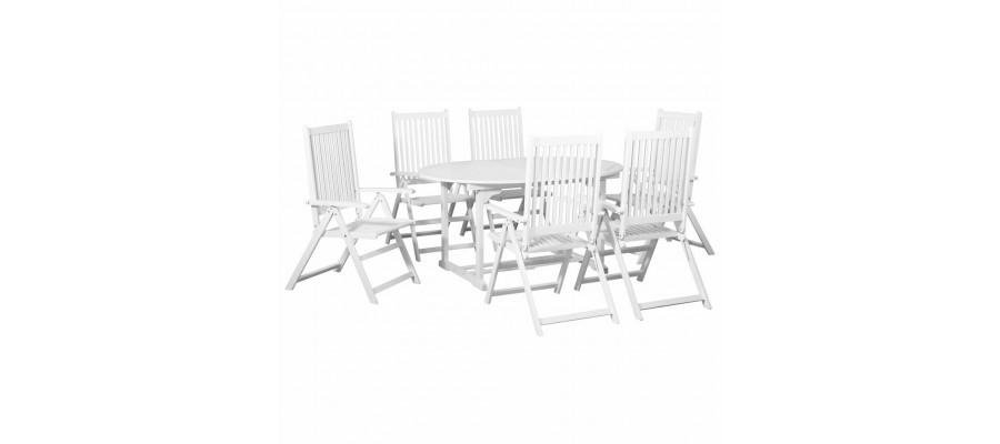Udendørs spisebordssæt 7 dele med forlængerbord træ hvid