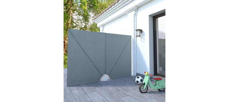 Sammenklappelig sidemarkise til terrasse grå 240 x 160 cm