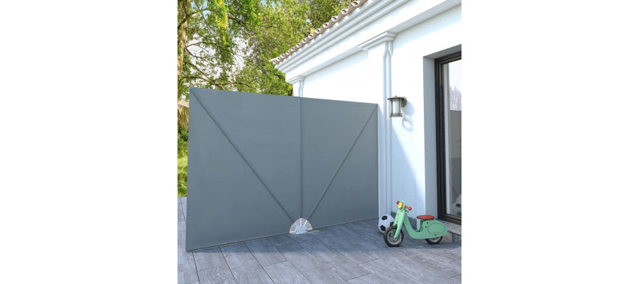 Sammenklappelig sidemarkise til terrasse grå 300 x 200 cm