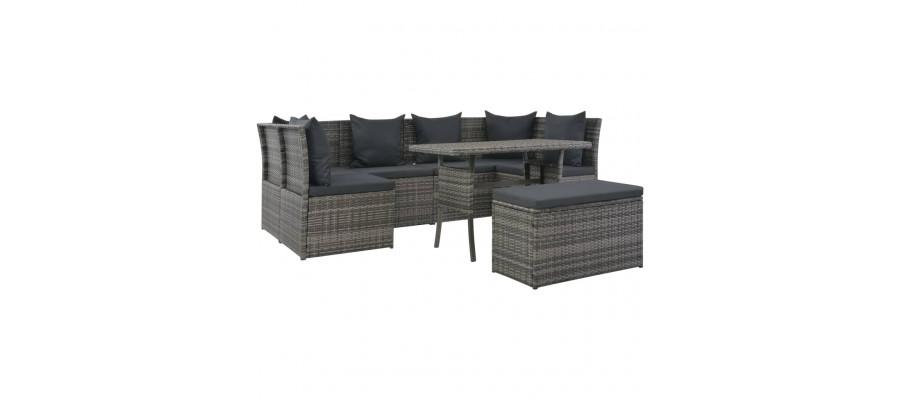 Udendørs spisebordssæt med hynder 8 dele polyrattan grå