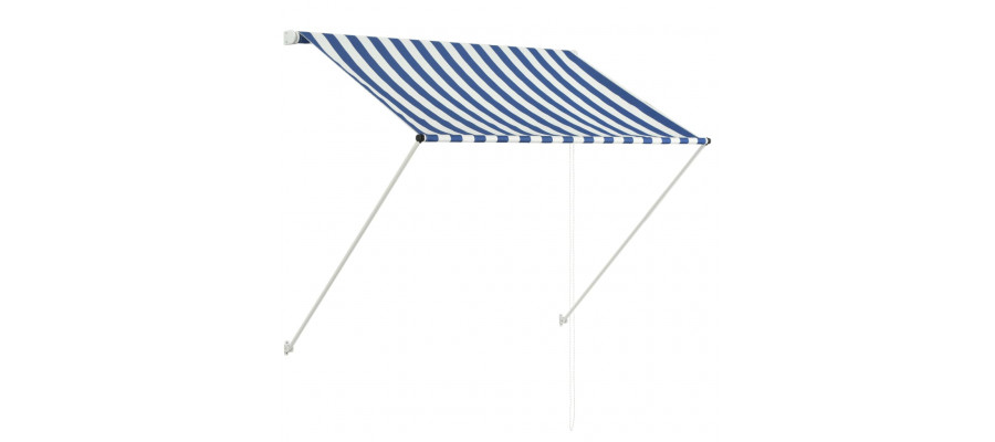Foldemarkise 150 x 150 cm blå og hvid