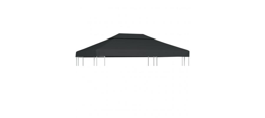 Pavillontopdække i 2 lag 310 g/m² 4 x 3 m antracitgrå