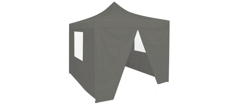 Foldbart festtelt pop-up med 4 sidevægge 3 x 3 m antracitgrå