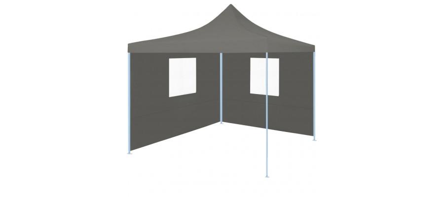 Foldbart festtelt pop-up med 2 sidevægge 3 x 3 m antracitgrå