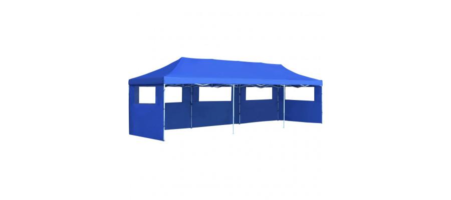 Foldbart pop up-festtelt med 5 sidevægge 3 x 9 m blå