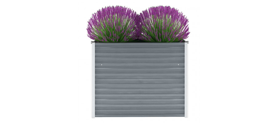 Haveplantekasse galvaniseret stål 100 x 40 x 77 cm grå