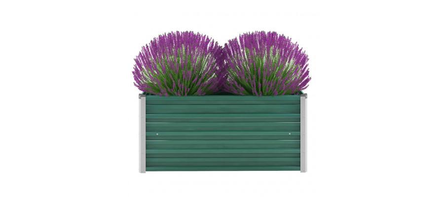 Haveplantekasse galvaniseret stål 100 x 40 x 45 cm grøn