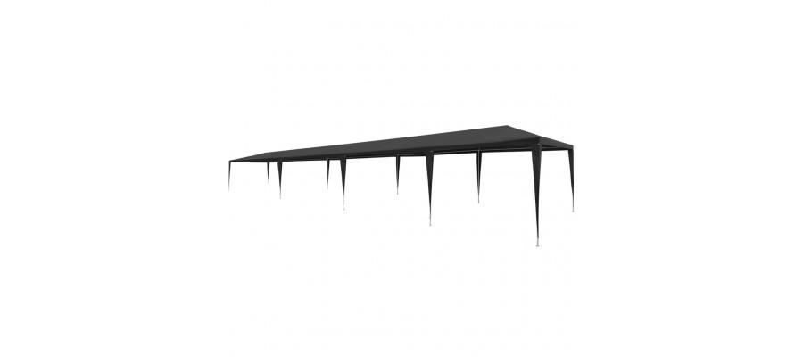 Festtelt 3 x 12 m PE antracitgrå