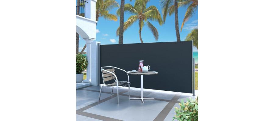 Sammenrullelig sidemarkise 140 x 300 cm sort