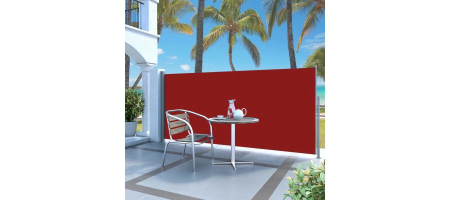 Sammenrullelig sidemarkise 120 x 300 cm rød