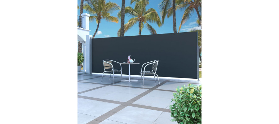 Sammenrullelig sidemarkise 160 x 500 cm sort