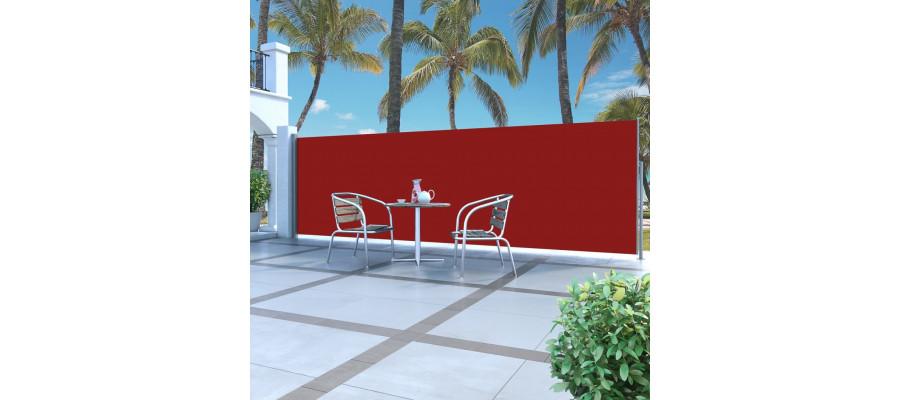 Sammenrullelig sidemarkise 160 x 500 cm rød