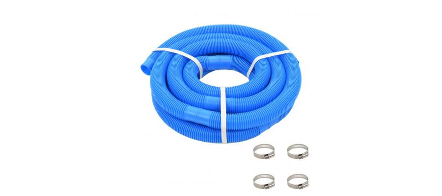Poolslange med klemmer 38 mm 6 m blå