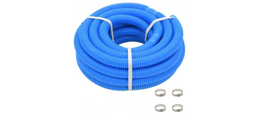 Poolslange med klemmer 38 mm 12 m blå