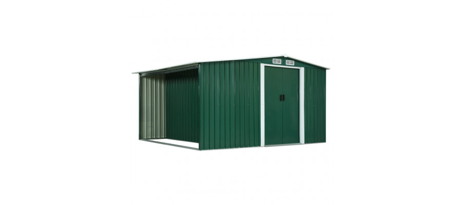 Haveskur med skydedøre 329,5 x 312 x 178 cm stål grøn