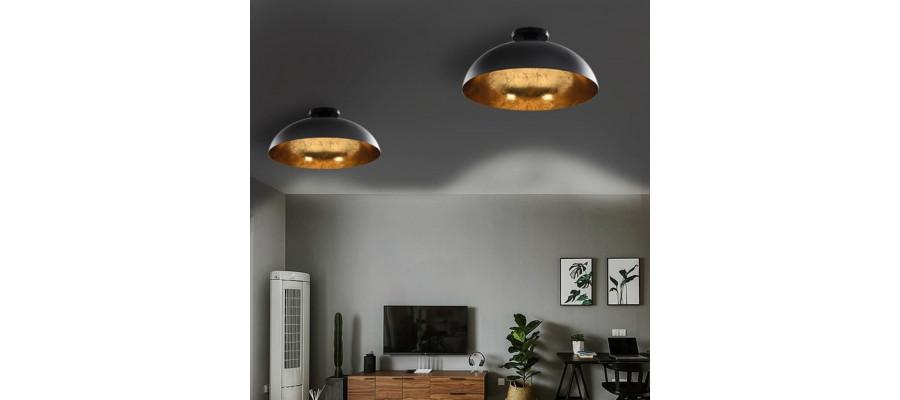 Loftslamper 2 stk. halvkugle E27 sort og guldfarvet