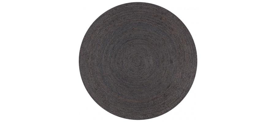 Håndlavet tæppe jute rund 150 cm mørkegrå