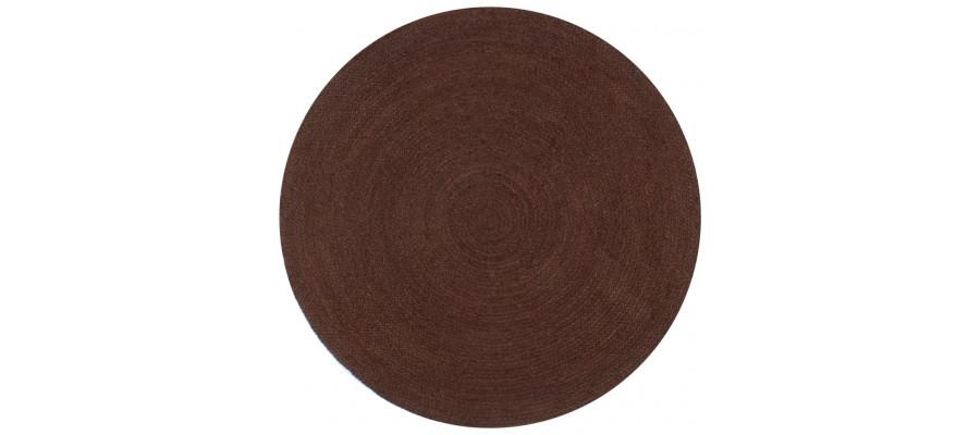 Håndlavet tæppe jute rund 120 cm brun