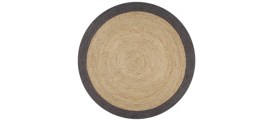 Håndlavet tæppe med mørkegrå kant jute 150 cm