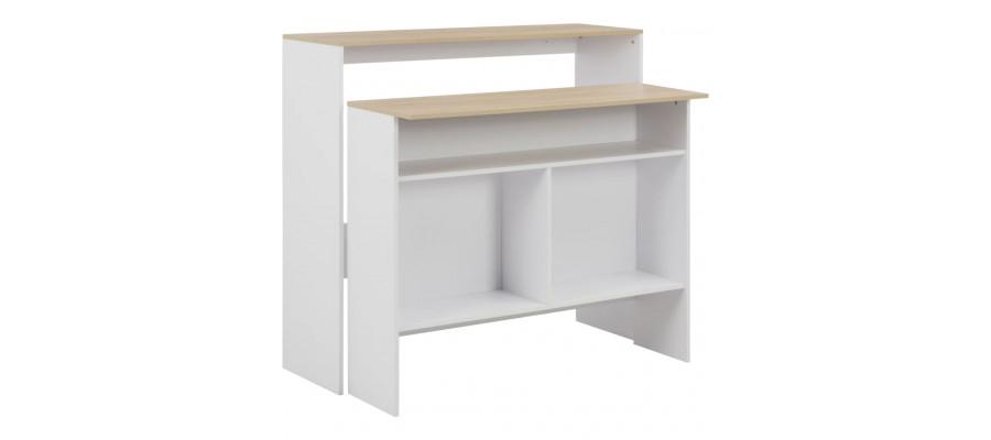 Barbord med 2 bordplader 130x40x120 cm hvid og eg
