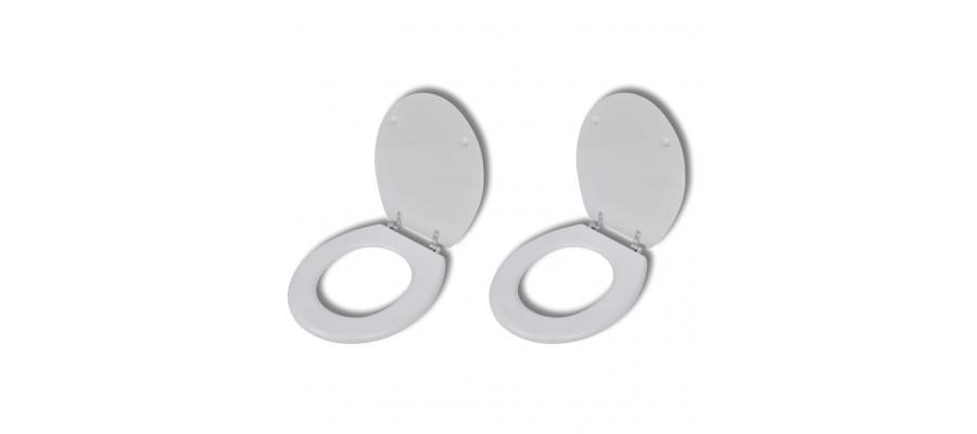 Toiletsæder med hard close-låg 2 stk. MDF hvid