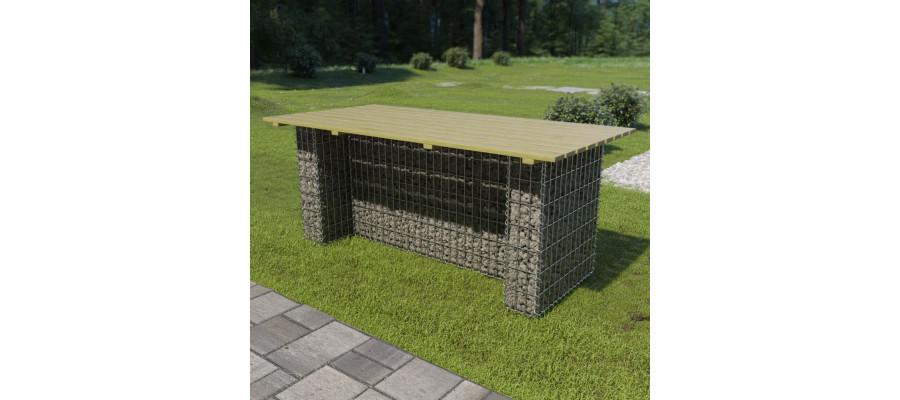 Havebord med stålgabion fyrretræ 180 x 90 x 74 cm