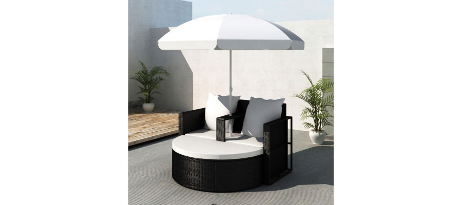Solseng med parasol sort polyrattan