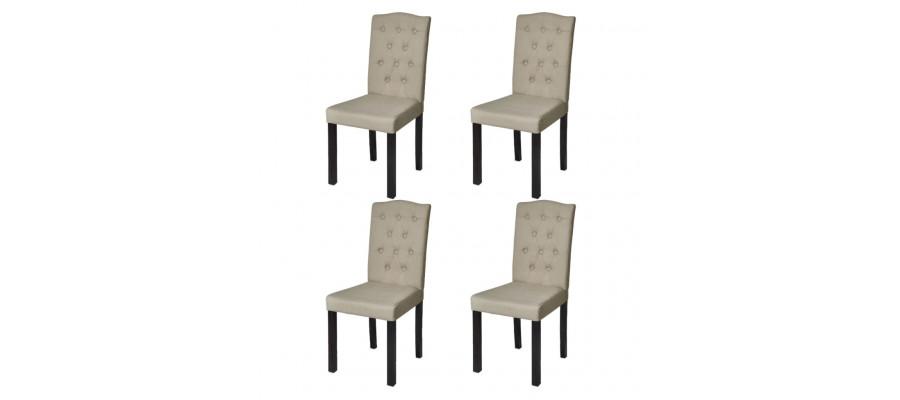 Spisebordsstole 4 stk. stof beige