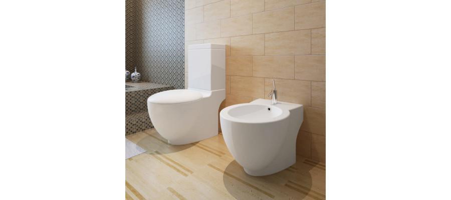 Stående toilet og bidet sæt, hvidt, keramisk