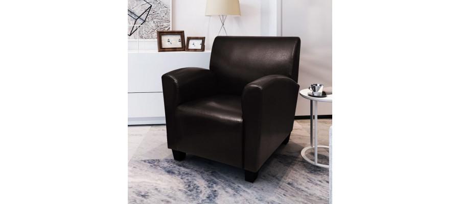 Lænestol kunstlæder mørkebrun