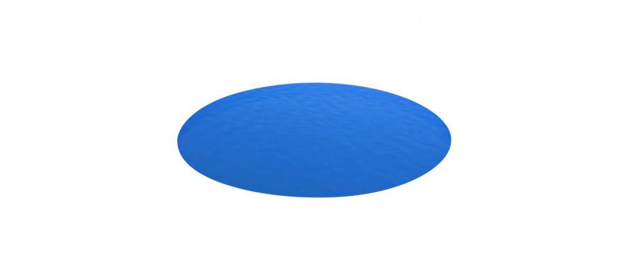 Rundt poolovertræk 488 cm PE blå