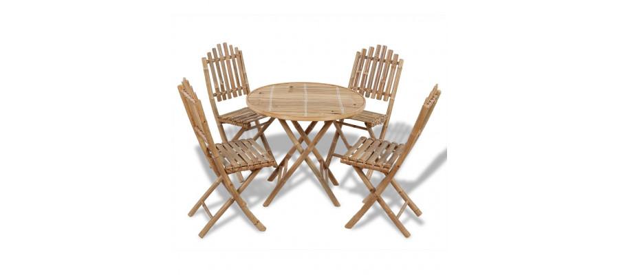 Udendørs spisebordssæt 5 dele foldbart bambus