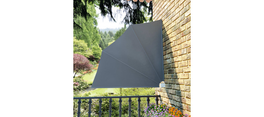 Sammenklappelig sidemarkise til altan grå 140 x 140 cm