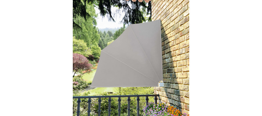 Sammenklappelig sidemarkise til altan cremefarvet 140 x 140 cm