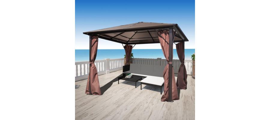 Havepavillon med gardin brun aluminium 300 x 300 cm