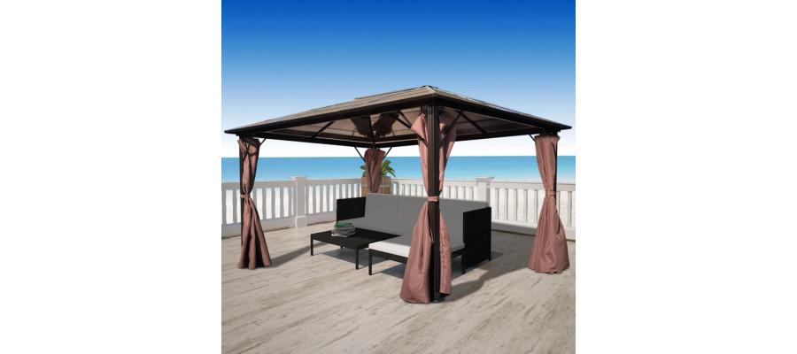 Havepavillon med gardin brun aluminium 400 x 300 cm