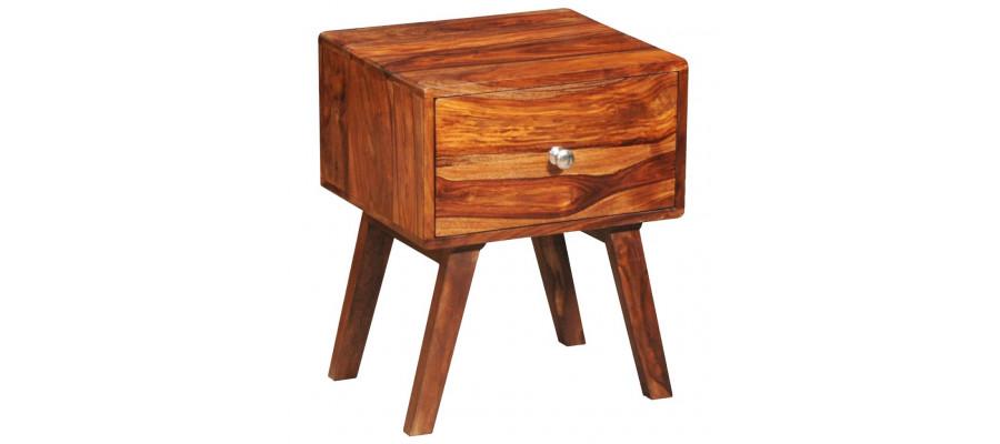 Sengebord med 1 skuffe 55 cm massivt sheeshamtræ