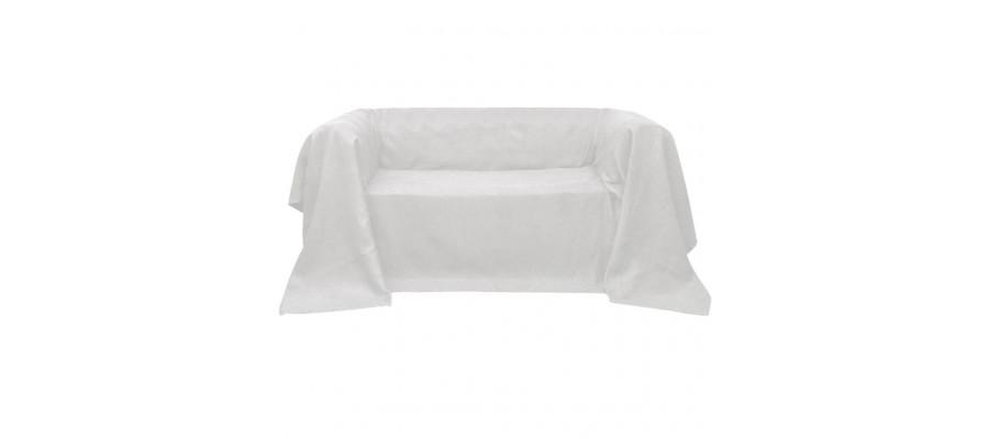Sofaovertræk i micro-suede, cremefarvet, 140x210 cm