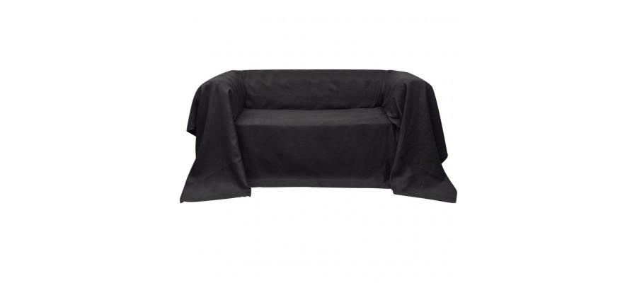 Sofabetræk 140x210 cm mikroruskind antracitgrå