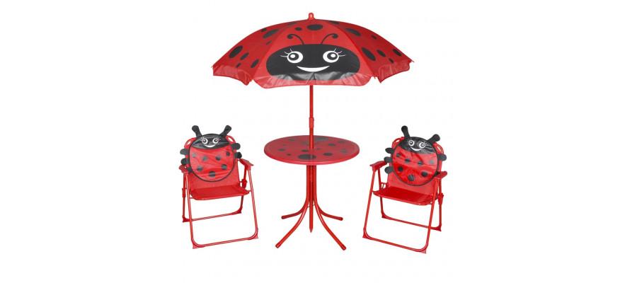 Udendørs bistrosæt til børn 3 dele med parasol rød