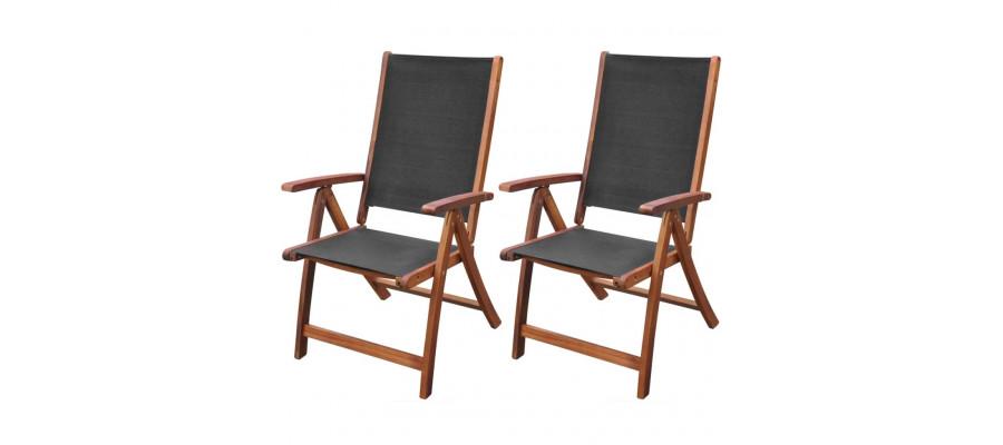 Foldbare havestole 2 stk. massivt akacietræ og textilene