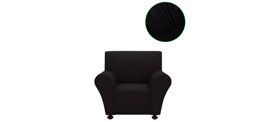 Sofaovertræk, stræk, sort, polyesterjersey