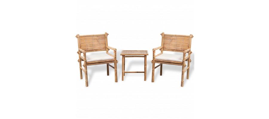 Bistrosæt 3 dele med hynder bambus