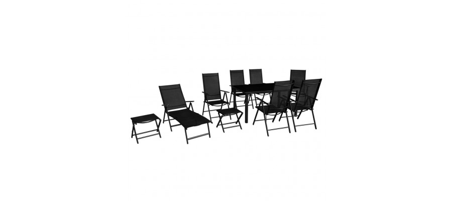Udendørs spisebordssæt 10 dele aluminium sort