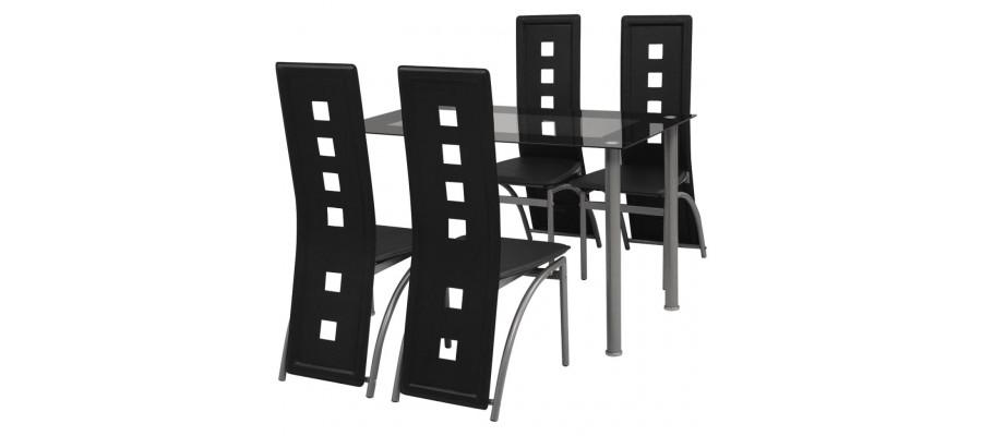 Spisebordssæt i 5 dele sort