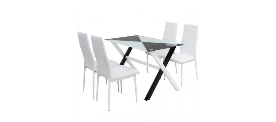 Spisebord og stole i kunstlæder, 5 dele