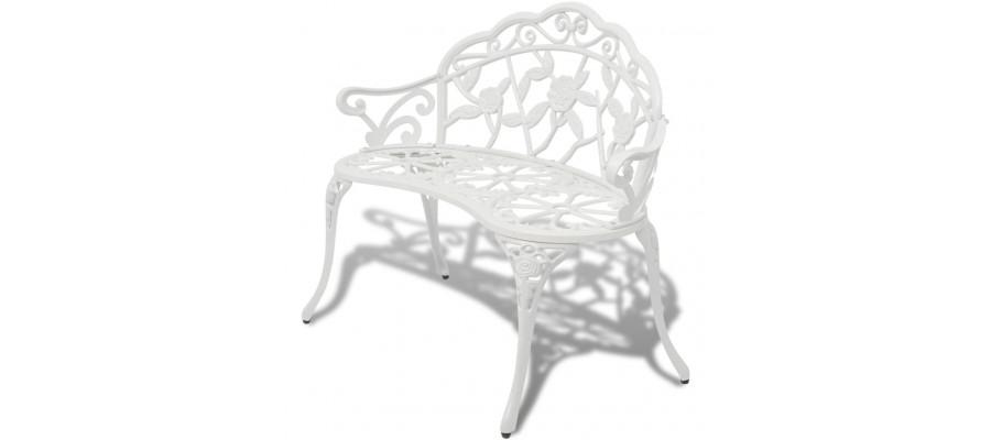 Havebænk 100 cm støbt aluminium hvid