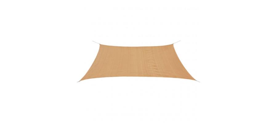 Solsejl HDPE rektangulær 2x4 m beige