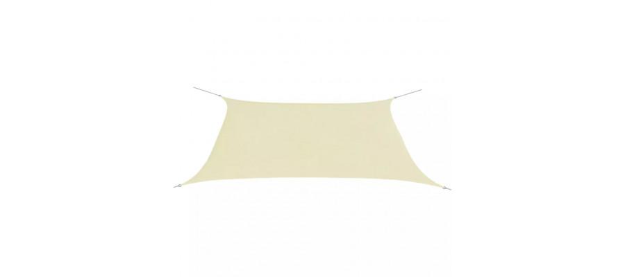 Solsejl Oxfordstof rektangulær 2 x 4 m cremefarvet